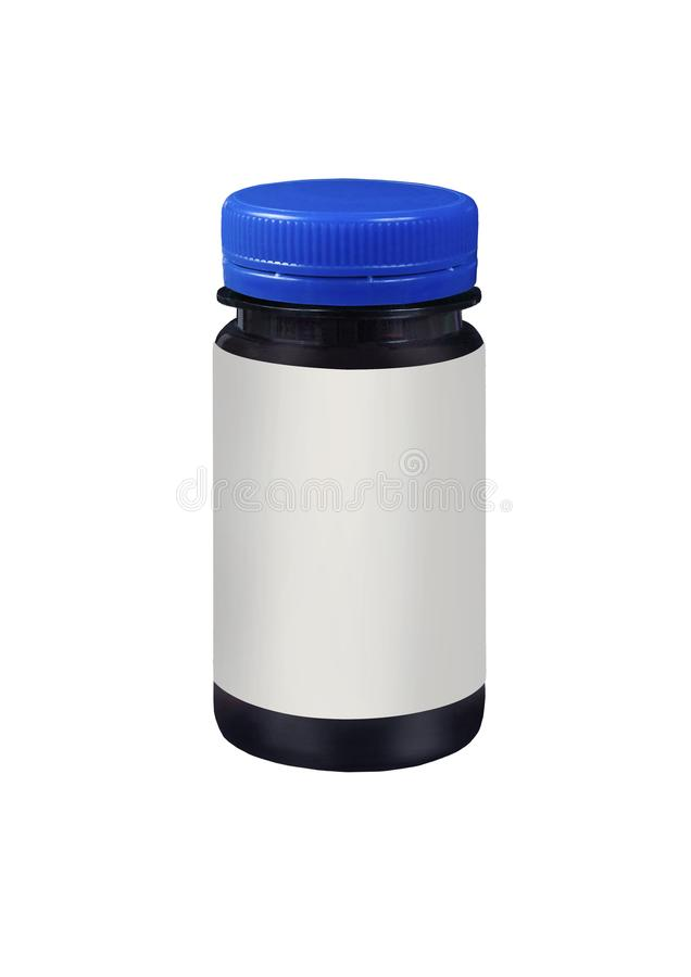 Blank packaging brown plastic jar with blue cap isolated on white background stock photography
