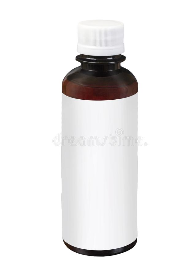 blank packaging brown transparent plastic jar with white cap isolated on white background stock photography