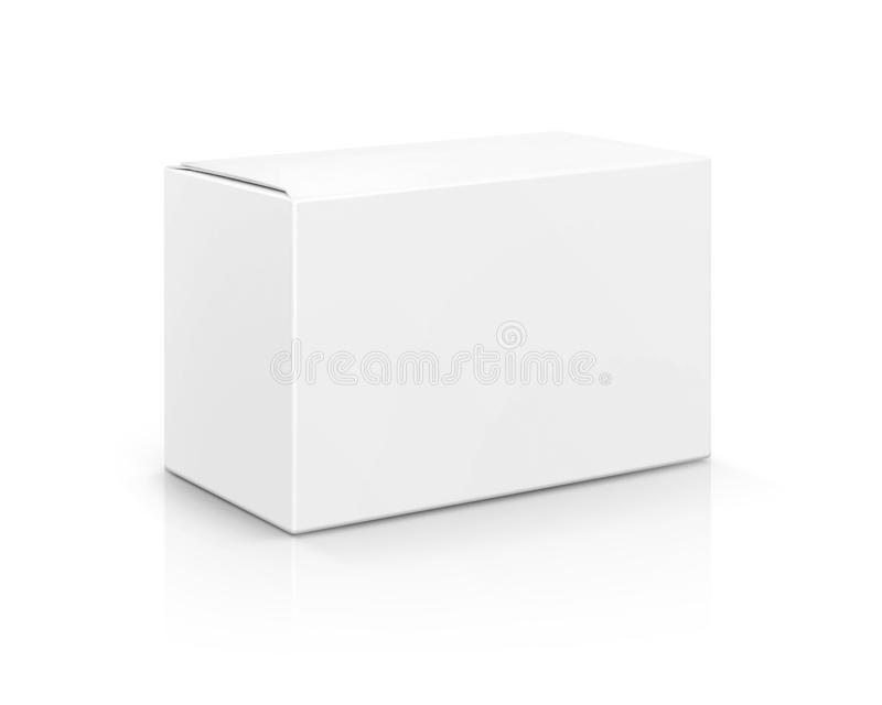 Blank packaging white cardboard box isolated on white background royalty free stock image