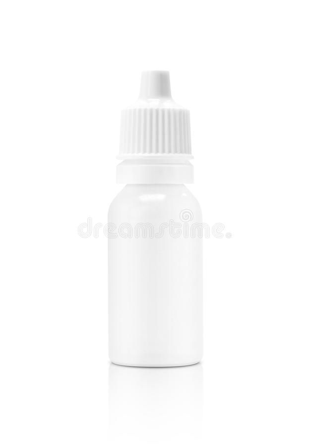 Blank packaging white plastic bottle for liquid dropper medicine royalty free stock photo