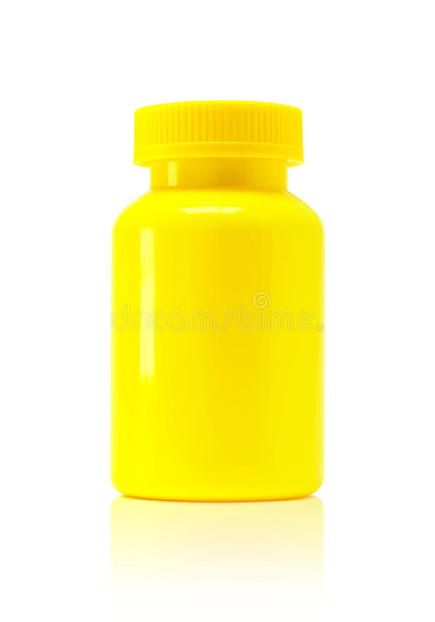 Blank packaging yellow plastic bottle for supplement product. On white background with clipping path stock photos