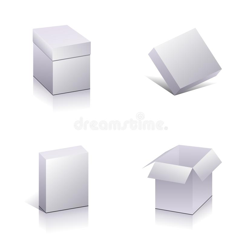 Blank packing. Set of blank packing. Template open 3d boxes. Vector royalty free illustration