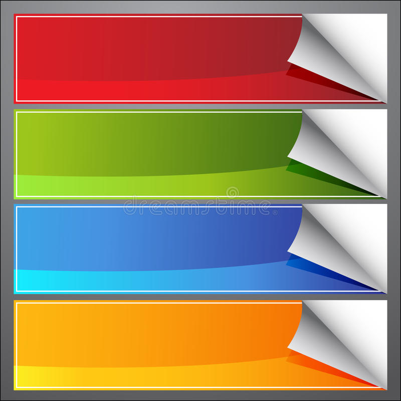 Blank Page Curl Banners royalty free illustration