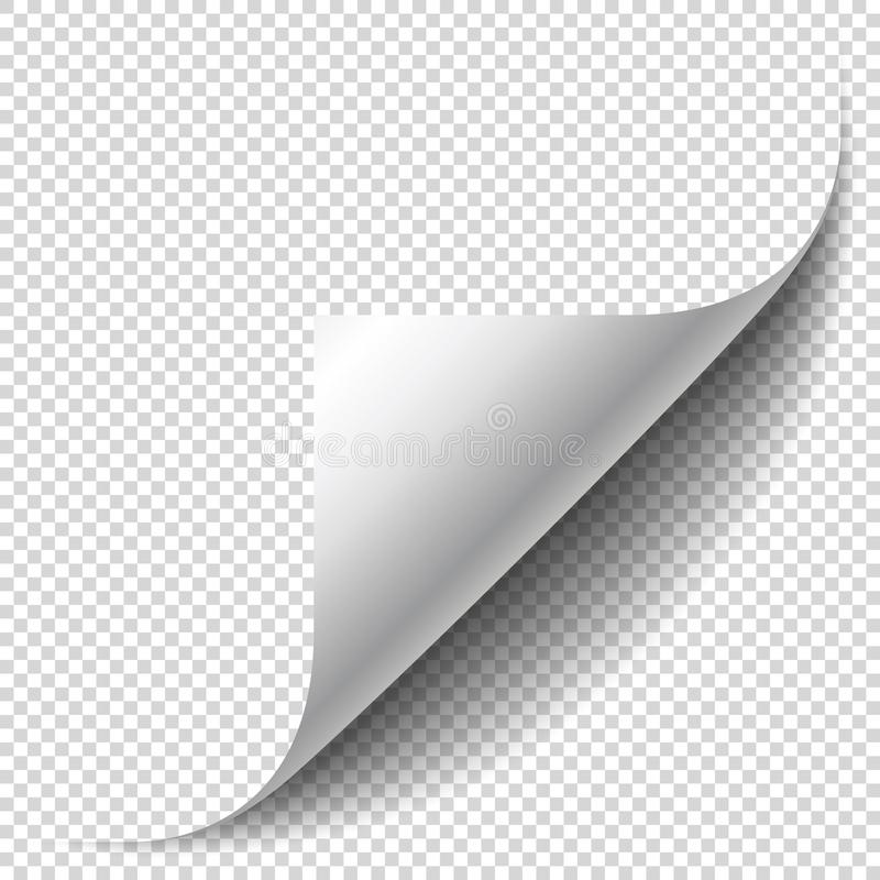 Blank page with curled corner and soft shadow. Corner of sheet vector illustration