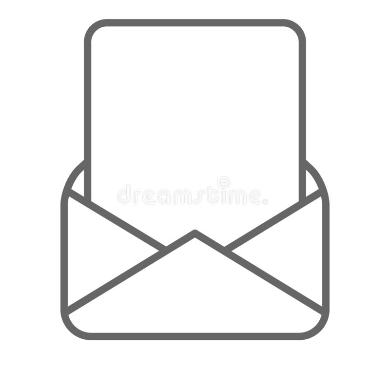 Blank page in mail envelope black white vector illustration