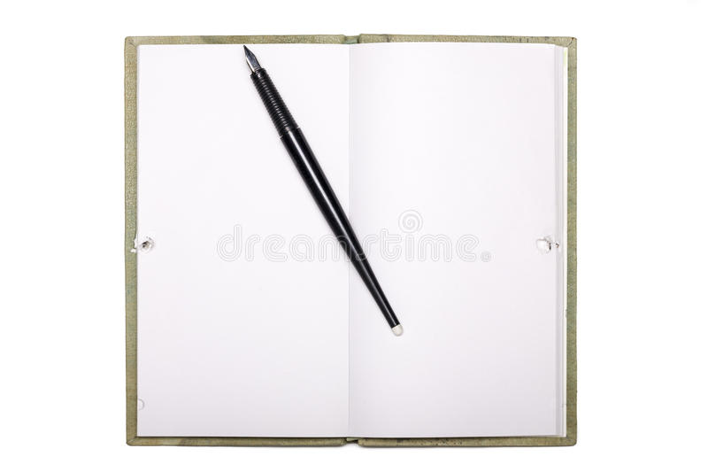Blank page of note book with black pen isolated on white stock photos