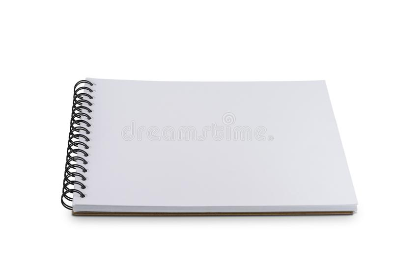 Blank Page notebook or sketchbook isolated on white background stock image