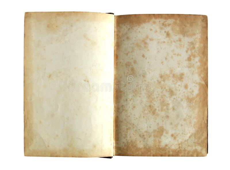Blank pages of the ancient book. Blank yellowed shabby pages of the ancient book isolated on white background stock image