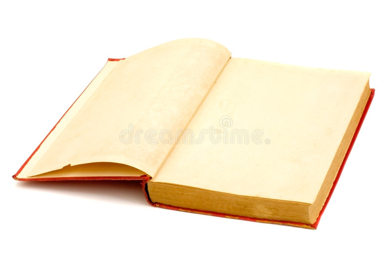 Blank pages of a old book. Isolated on white background royalty free stock image