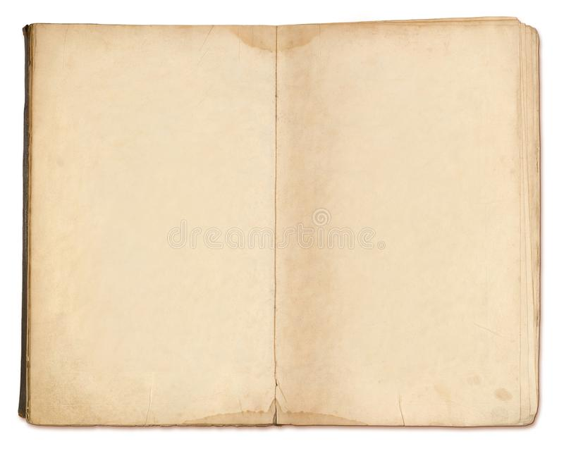 Blank pages in old notebook isolated stock photos