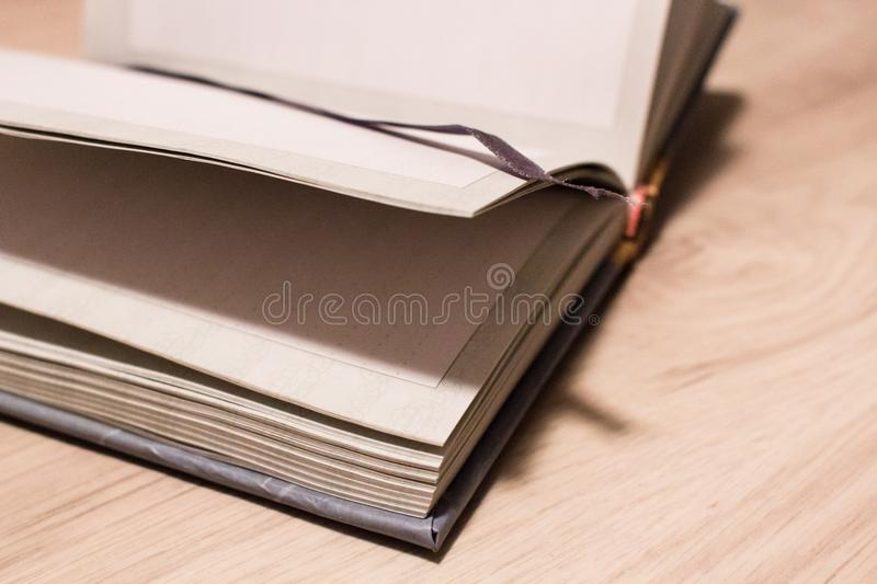 Blank pages in an open notepad close-up royalty free stock image