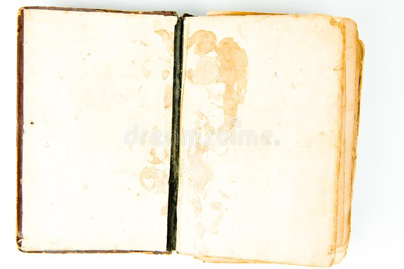 Blank pages of open vintage book royalty free stock photography