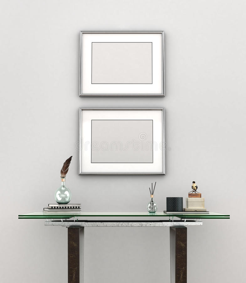 Blank painting with silver frames vector illustration
