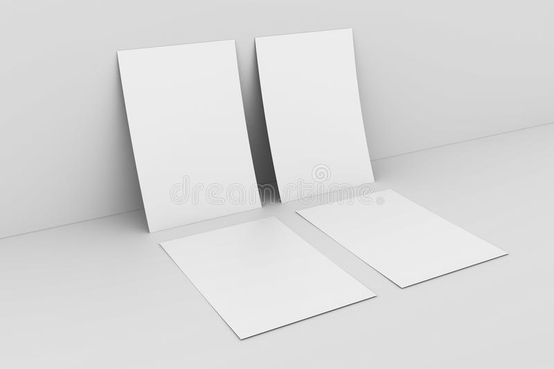 Download Blank Paper Againstwhite Wall Stock Illustration - Illustration of element, render: 17073055