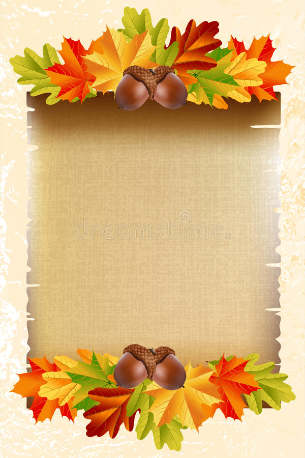 Blank paper with autumn leaves and acorns stock illustration