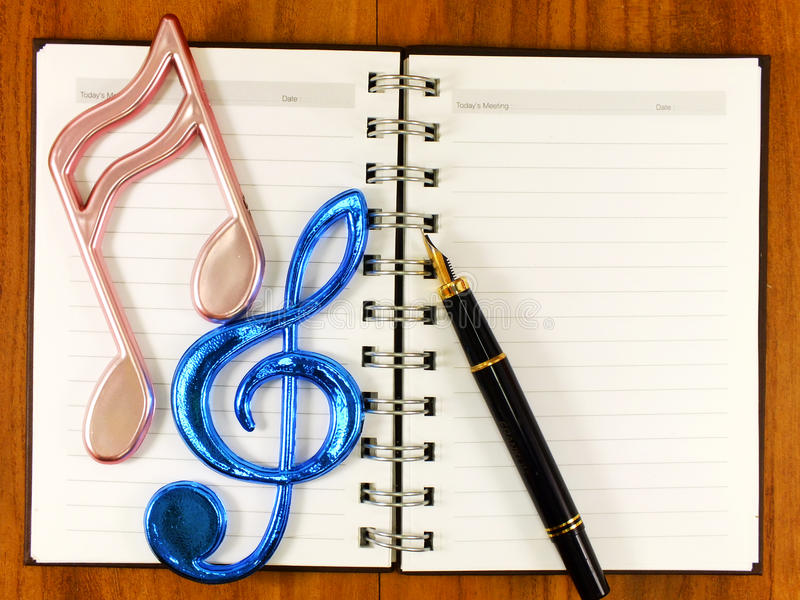 Blank paper background with music note stock photos