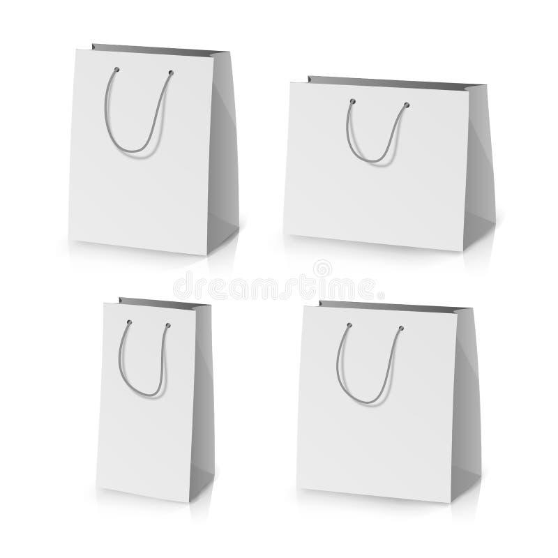 Blank Paper Bag Template Vector. Realistic Gift Bag Illustration stock illustration