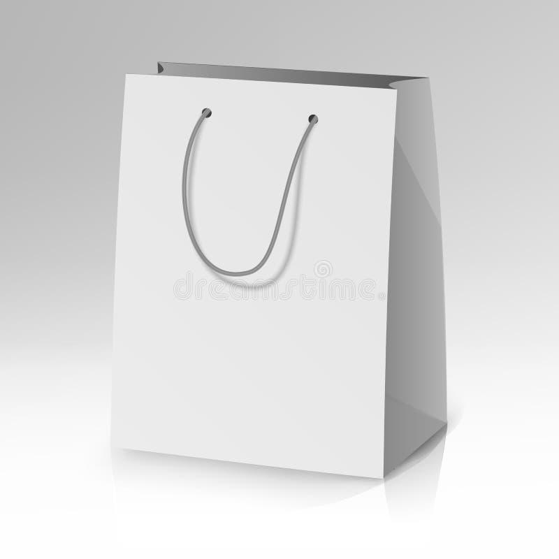 Blank Paper Bag Template Vector. Realistic Shopping Pocket Bag Illustration royalty free illustration