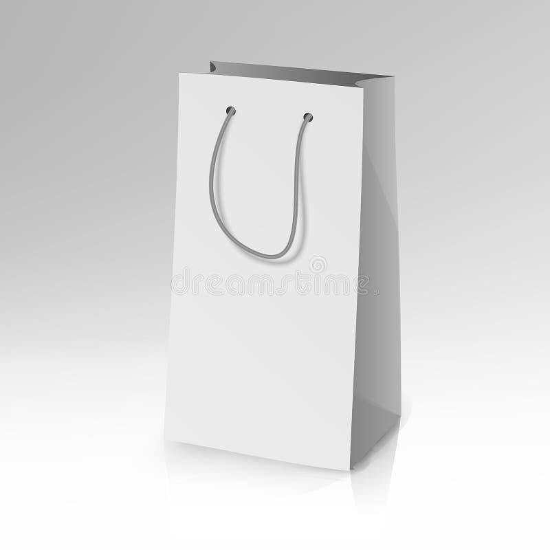 Blank Paper Bag Template Vector. Realistic Shopping Pocket Bag Illustration vector illustration