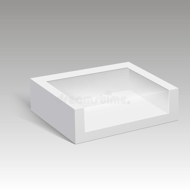 Blank paper box packaging for sandwich, food, gift or other products with plastic window. Vector illustration. Blank paper box packaging for sandwich, food royalty free illustration