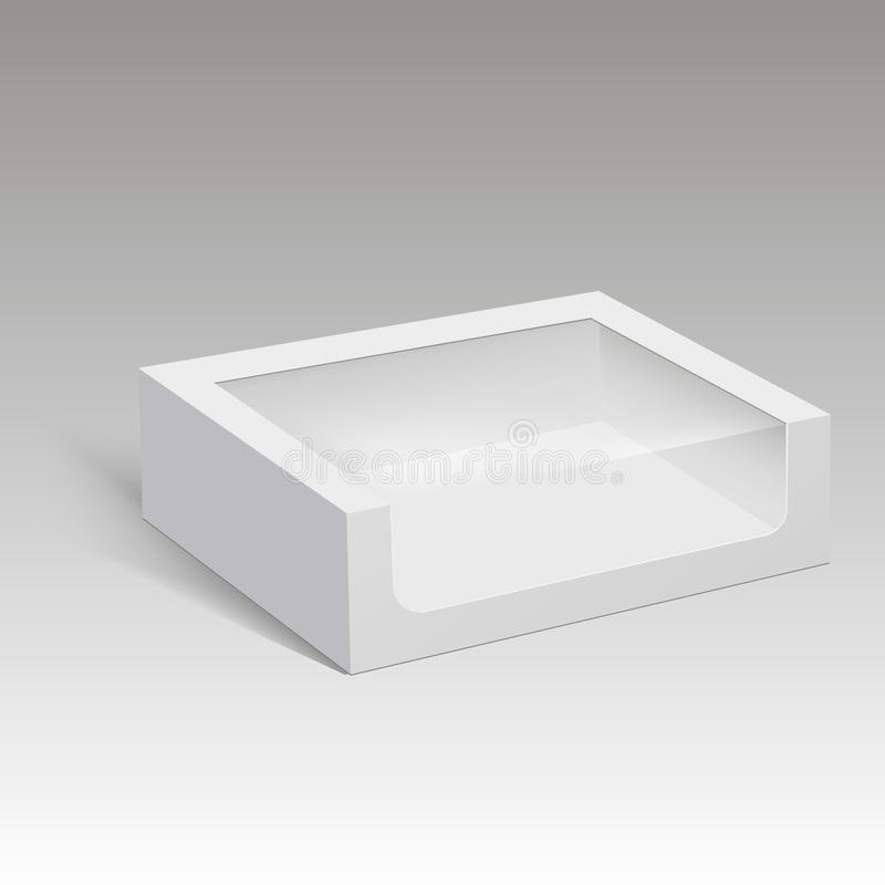 Blank paper box packaging for sandwich, food, gift or other products with plastic window. Vector illustration. vector illustration