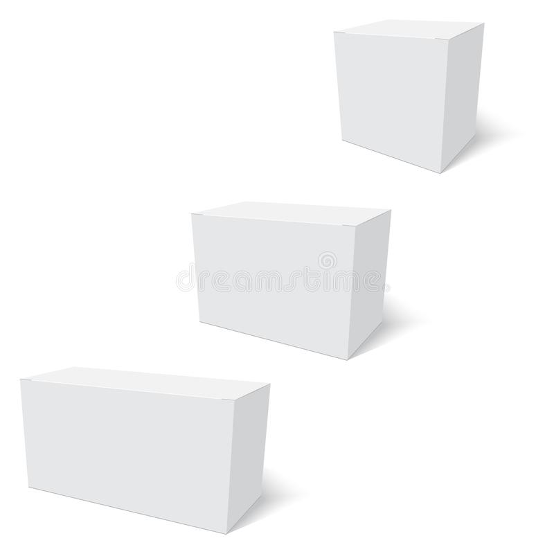 Blank of paper box template standing on white background. Vector stock illustration