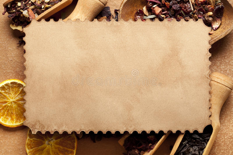 Blank paper card and dried leaves of tea royalty free stock photos