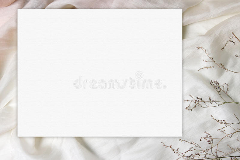 Blank Paper Card On Silk Wavy Cloth With Tiny Flowers Wedding
