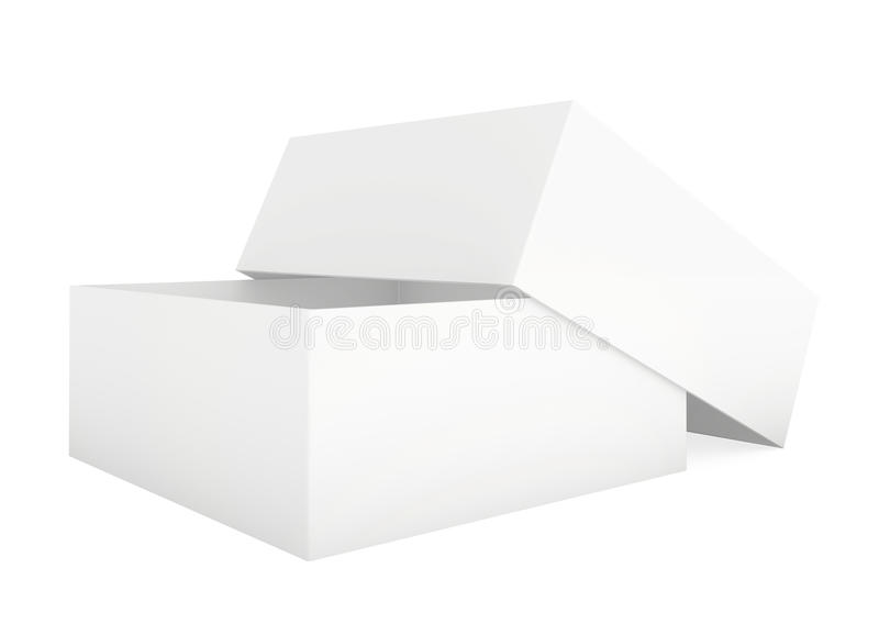 Blank paper cardboard. Box template standing on white background stock illustration