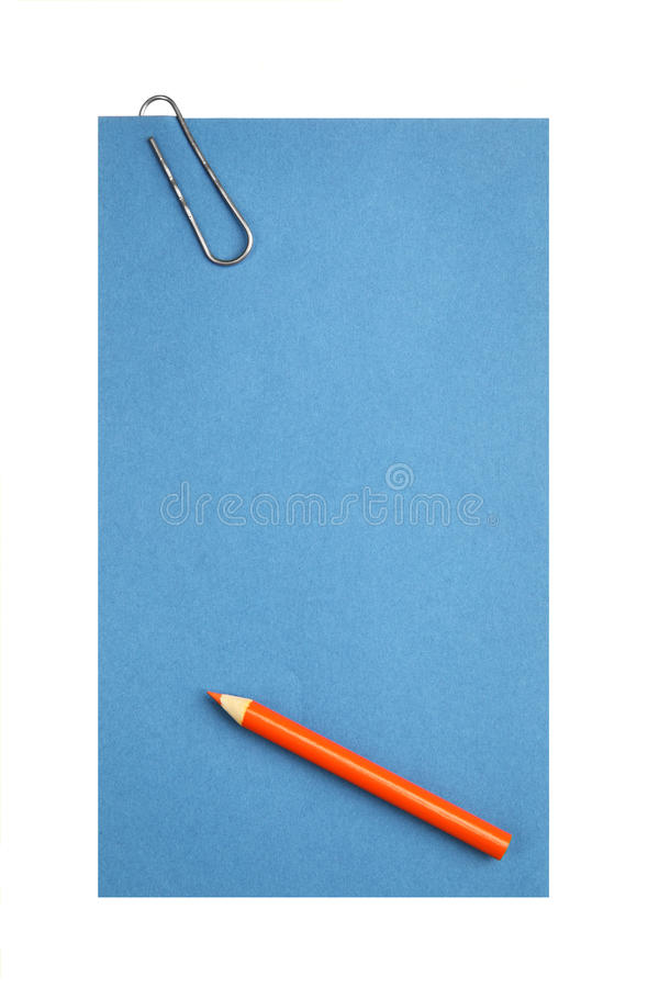 Blank paper with clip and pencil. Isolated over white background royalty free stock image