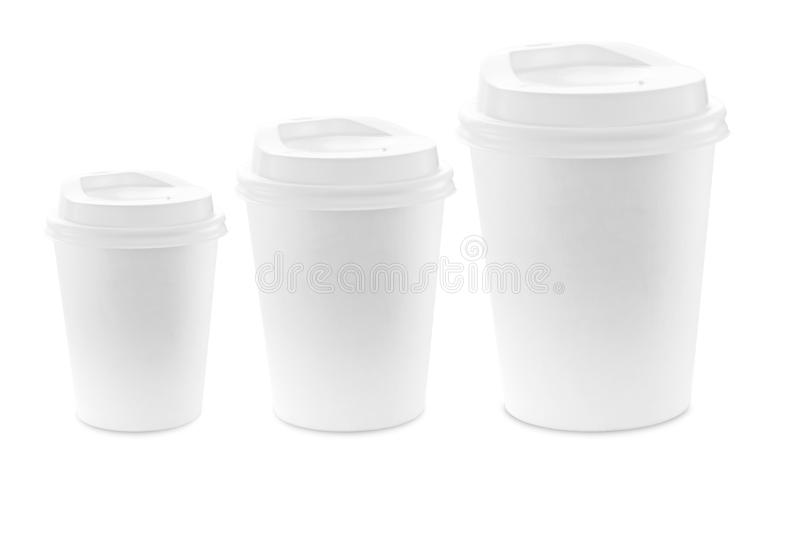 Blank Paper coffee cup isolate on white background for mockup. Blank Paper coffee cup isolate on white background with clipping path royalty free stock image