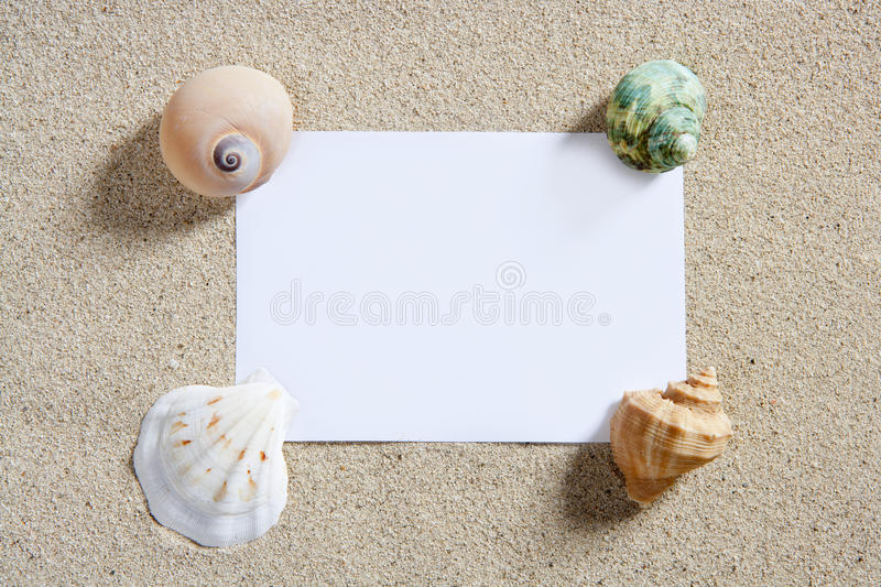 Blank Paper Copy Space Summer Beach Sand Vacation Royalty Free Stock Photo
