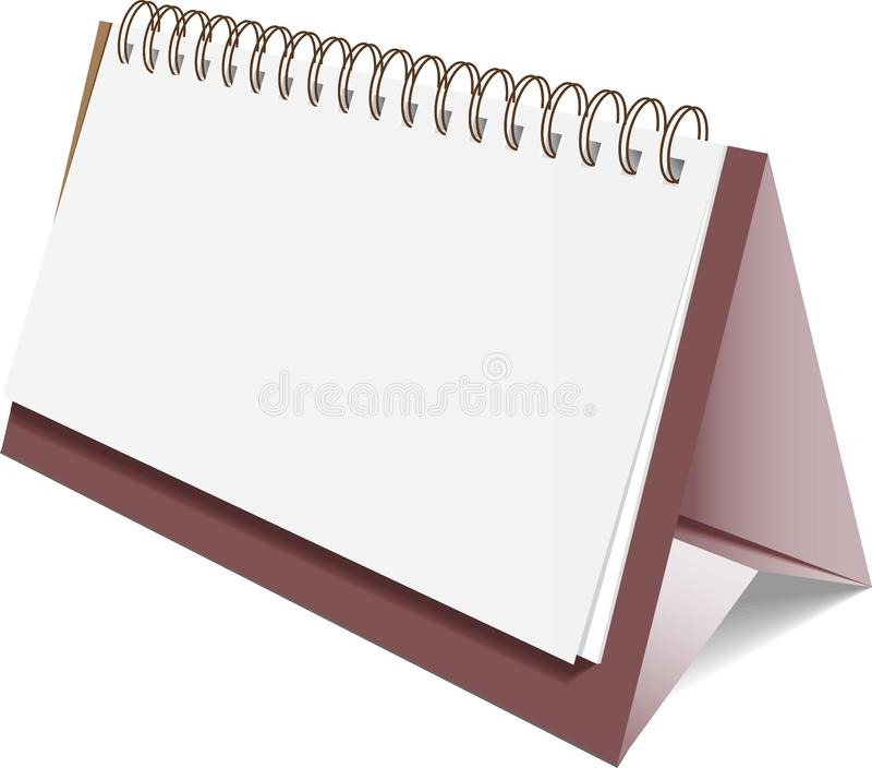 Blank paper desk spiral calendar, brown padded stock illustration
