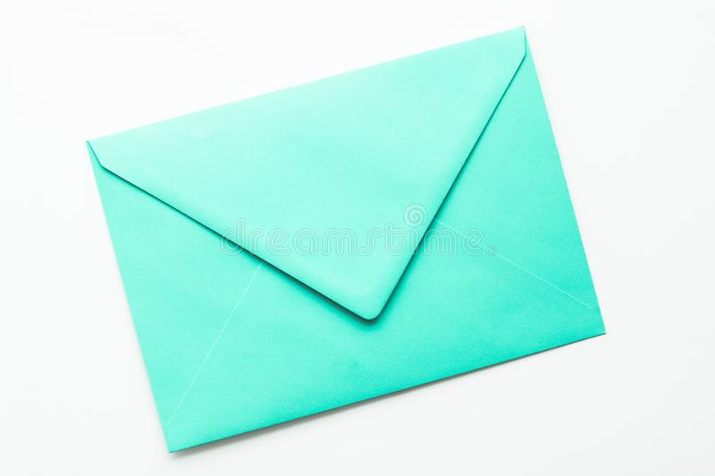 Blank paper envelopes on marble flatlay background, holiday mail letter or post card message design. Postal service, newsletter and greeting card concept - Blank royalty free stock photography