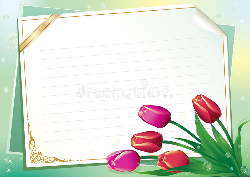 Blank paper with floral ornament stock illustration