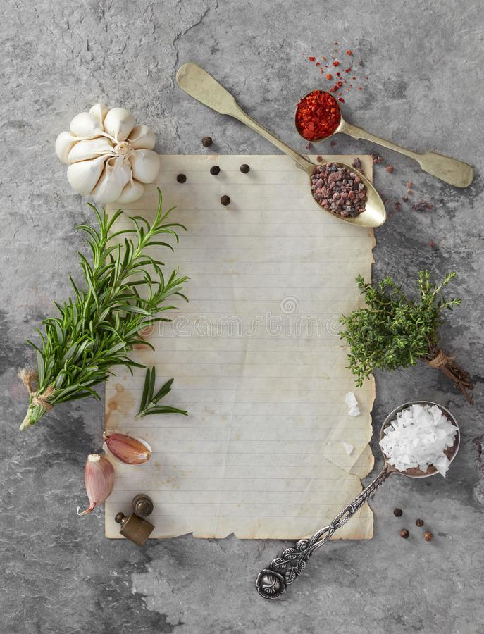 Blank paper, herbs and spice royalty free stock image