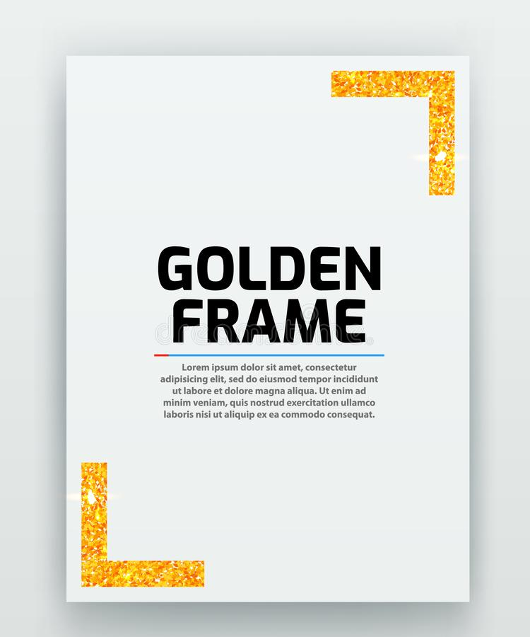 Blank paper with modern gold vector frame. Metal gradient. Template for certificate. Elegant color. Premium quality. stock illustration