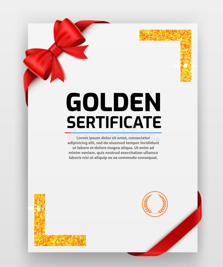 Blank paper with modern gold vector frame. Metal gradient. Template for certificate. Elegant color. Premium quality. Vector illustration royalty free illustration
