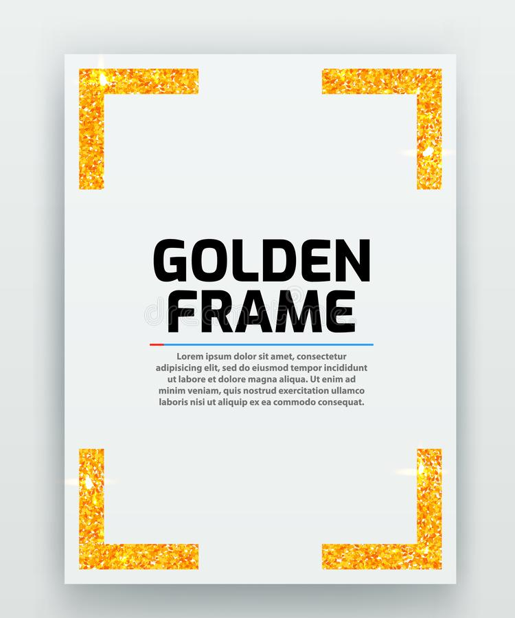 Blank paper with modern gold vector frame. Metal gradient. Template for certificate. Elegant color. Premium quality. Vector illustration vector illustration