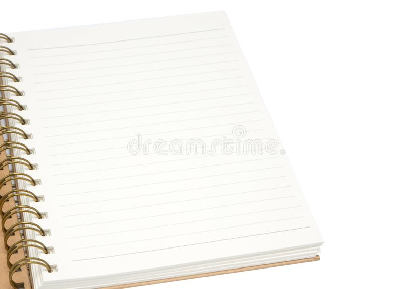 Blank paper notebook on white background stock photo