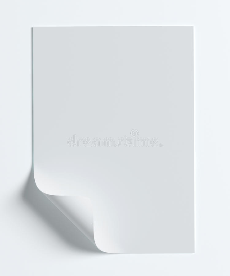 Blank paper page with curl on white. Blank A4 paper page with curl on white with soft shadows vector illustration