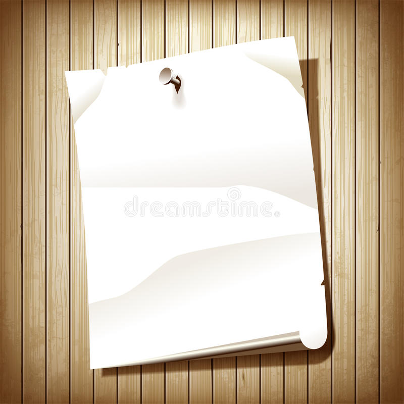 Blank Paper Page On Wood Background Stock Vector