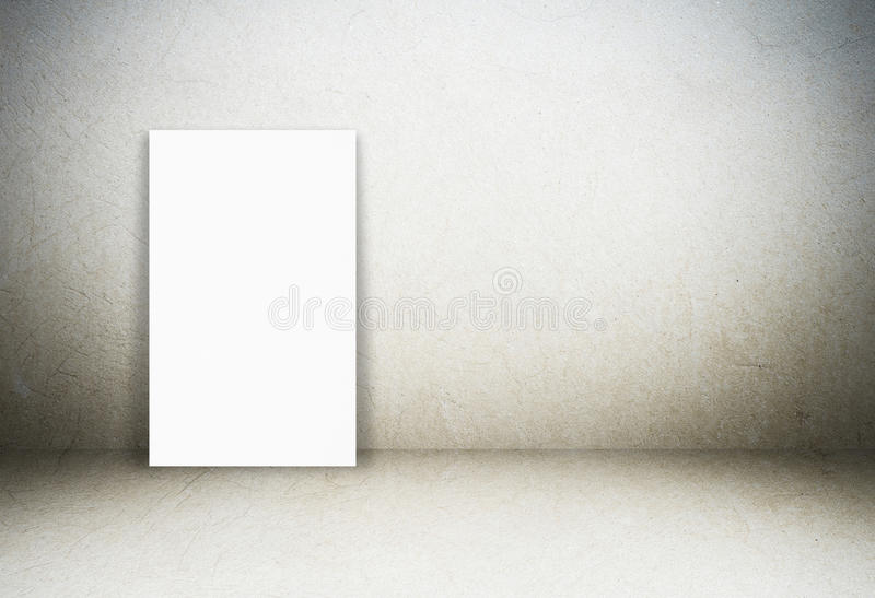 Blank paper poster and cement room background. Template stock photography
