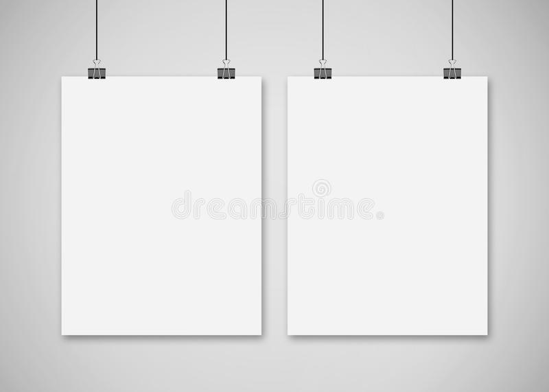 Poster Mockup, Mockup Template On Isolated White Background, Ready For Your Design, 3D Illustration. vector illustration