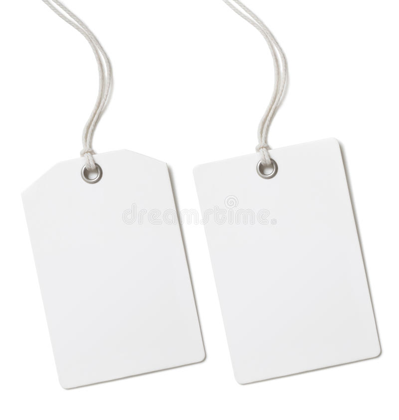 Blank paper price or gift tag set isolated. Blank paper price tag or label set isolated on white royalty free stock photography