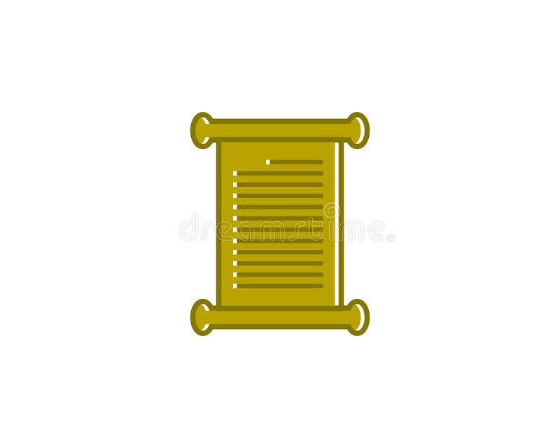 Blank Paper Scroll Icon Logo Design Element stock illustration