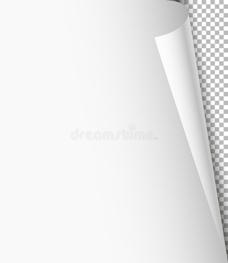 Blank paper sheet with bending corner. On transparent background stock illustration