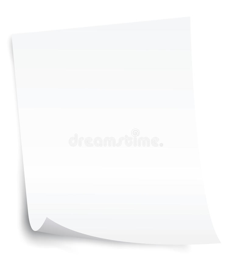 Blank paper sheet with curl corner. White blank paper sheet with curl corner stock illustration
