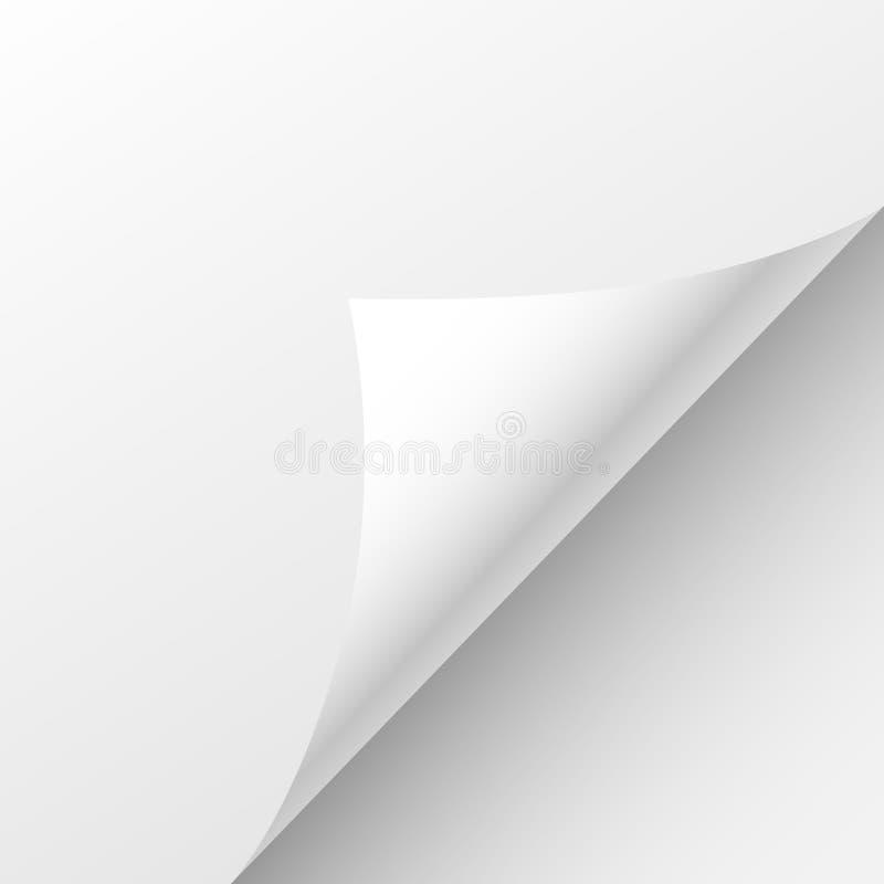 Blank Paper Sheet Curl Corner, Empty Page Bend. Vector illustration stock illustration