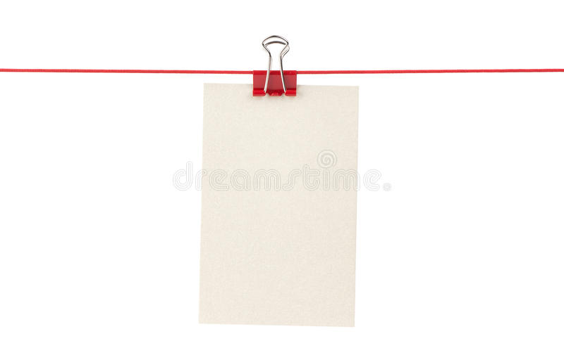 Download Blank Paper Sheet On A Rope Stock Image - Image of list, reminder: 23397863
